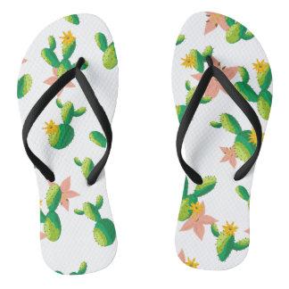 Cute Lovely Watercolor flowers succulent cactus Flip Flops