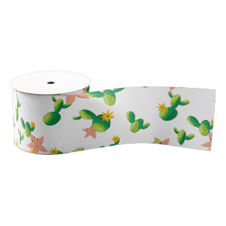 Cute Lovely Watercolor flowers succulent cactus Grosgrain Ribbon