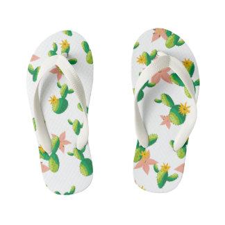 Cute Lovely Watercolor flowers succulent cactus Kid's Flip Flops