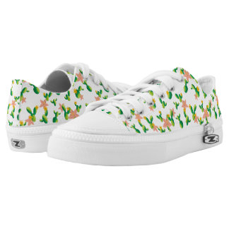 Cute Lovely Watercolor flowers succulent cactus Low-Top Sneakers