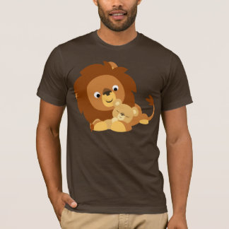 Cute Loving Cartoon Lion Dad and Cub T-Shirt