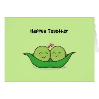 Cute loving pea couple greeting card