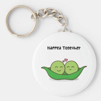 Cute loving pea couple keychain