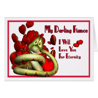 Cute loving snake holding your heart safe card