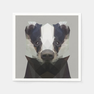 Cute low poly badger napkin