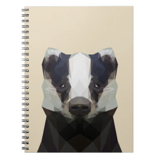 Cute low poly badger notebook