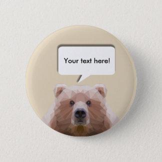 Cute low poly bear customisable pin badge