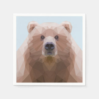 Cute low poly bear napkin