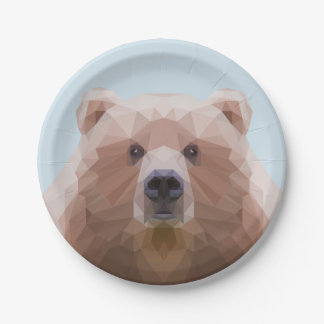 Cute low poly bear paper plate