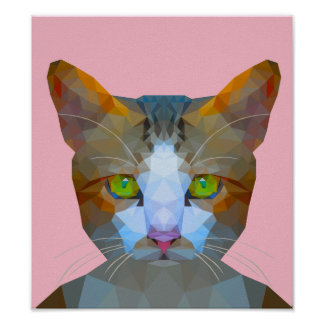 Cute low poly cat poster