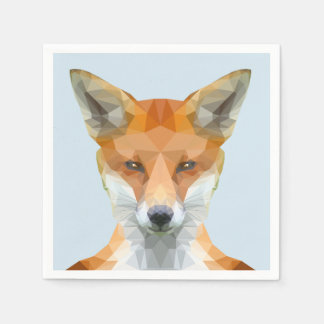 Cute low poly fox napkins