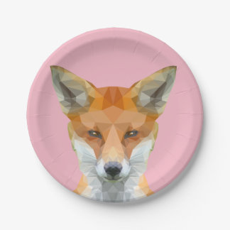 Cute low poly fox paper plate