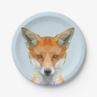 Cute low poly fox paper plate in blue.