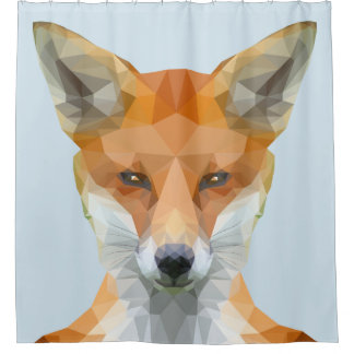 Cute low poly fox shower curtain