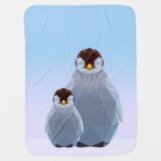 Cute low poly penguins baby blanket