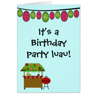 Cute luau girls birthday party invitation card