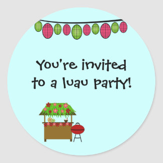 Cute luau girls birthday party stickers