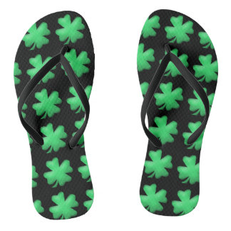 Cute Lucky Irish Shamrock Flip Flops