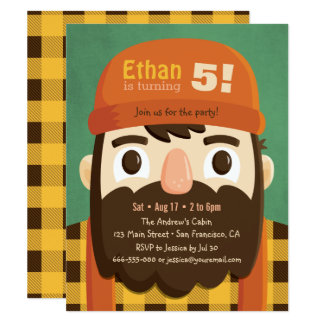 Cute Lumberjack Beard Boy Birthday Party Invites