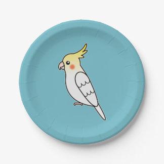 Cute Lutino Cockatiel Cartoon Bird Illustration Paper Plate