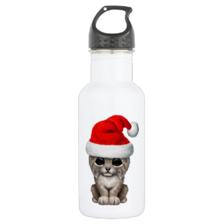 Cute Lynx Cub Wearing a Santa Hat 532 Ml Water Bottle