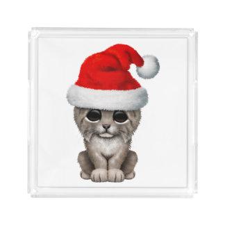 Cute Lynx Cub Wearing a Santa Hat Acrylic Tray