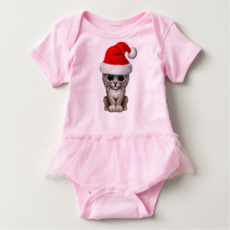 Cute Lynx Cub Wearing a Santa Hat Baby Bodysuit