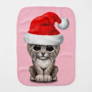 Cute Lynx Cub Wearing a Santa Hat Burp Cloth