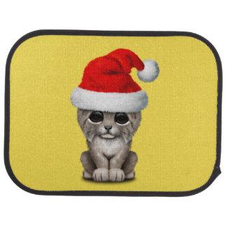 Cute Lynx Cub Wearing a Santa Hat Car Mat