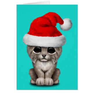 Cute Lynx Cub Wearing a Santa Hat Card