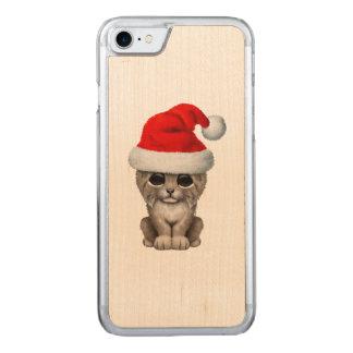 Cute Lynx Cub Wearing a Santa Hat Carved iPhone 8/7 Case
