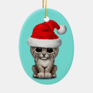 Cute Lynx Cub Wearing a Santa Hat Ceramic Ornament