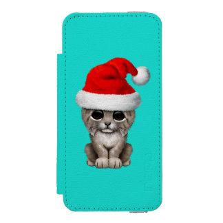 Cute Lynx Cub Wearing a Santa Hat Incipio Watson™ iPhone 5 Wallet Case