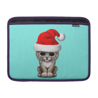 Cute Lynx Cub Wearing a Santa Hat MacBook Sleeve