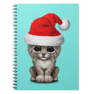 Cute Lynx Cub Wearing a Santa Hat Notebook