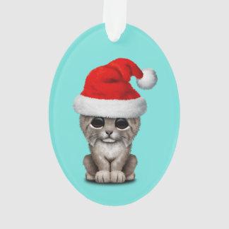 Cute Lynx Cub Wearing a Santa Hat Ornament