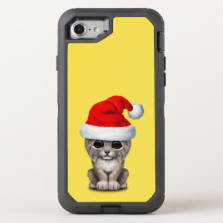 Cute Lynx Cub Wearing a Santa Hat OtterBox Defender iPhone 8/7 Case