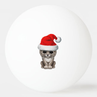Cute Lynx Cub Wearing a Santa Hat Ping Pong Ball