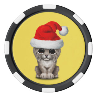 Cute Lynx Cub Wearing a Santa Hat Poker Chips