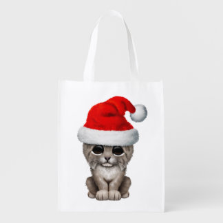 Cute Lynx Cub Wearing a Santa Hat Reusable Grocery Bag