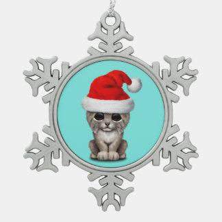 Cute Lynx Cub Wearing a Santa Hat Snowflake Pewter Christmas Ornament
