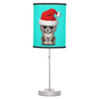 Cute Lynx Cub Wearing a Santa Hat Table Lamp