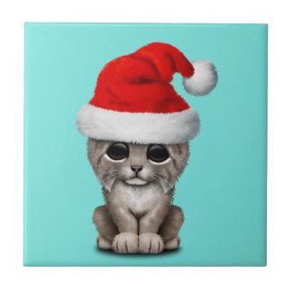Cute Lynx Cub Wearing a Santa Hat Tile