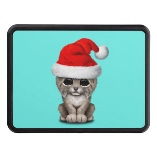 Cute Lynx Cub Wearing a Santa Hat Trailer Hitch Cover
