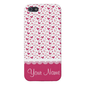 Cute magenta hearts pattern iPhone 5/5S covers