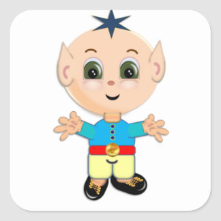 Cute magic elf square sticker