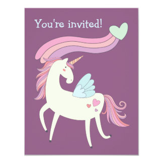 Cute Magical Unicorn Birthday Party Invitation