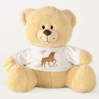 Cute Magical Unicorn Golden with custom text Teddy Bear