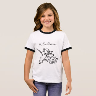 Cute Magical Unicorn I Love Unicorns or Your Text Ringer T-Shirt