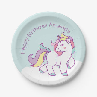 Cute Magical Unicorn Pastel Baby Shower BIRTHDAY Paper Plate